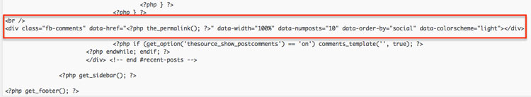 FB Comments code for WordPress single post