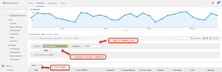 View all organic sources for pages in Google Analytics
