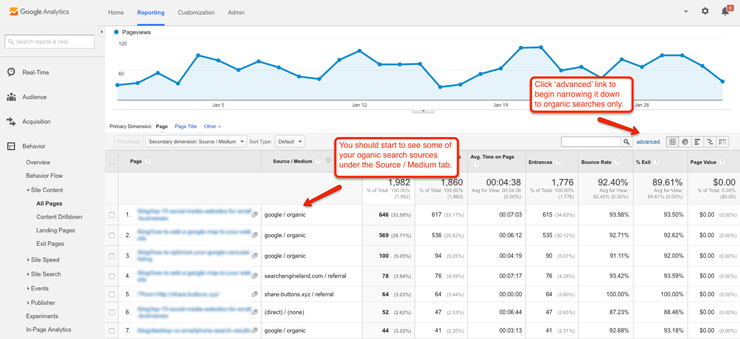 Pages separated by Source / Medium in Google Analytics