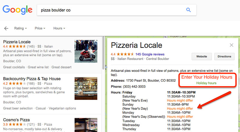 Local Business Holiday Hours example in Google Search Results
